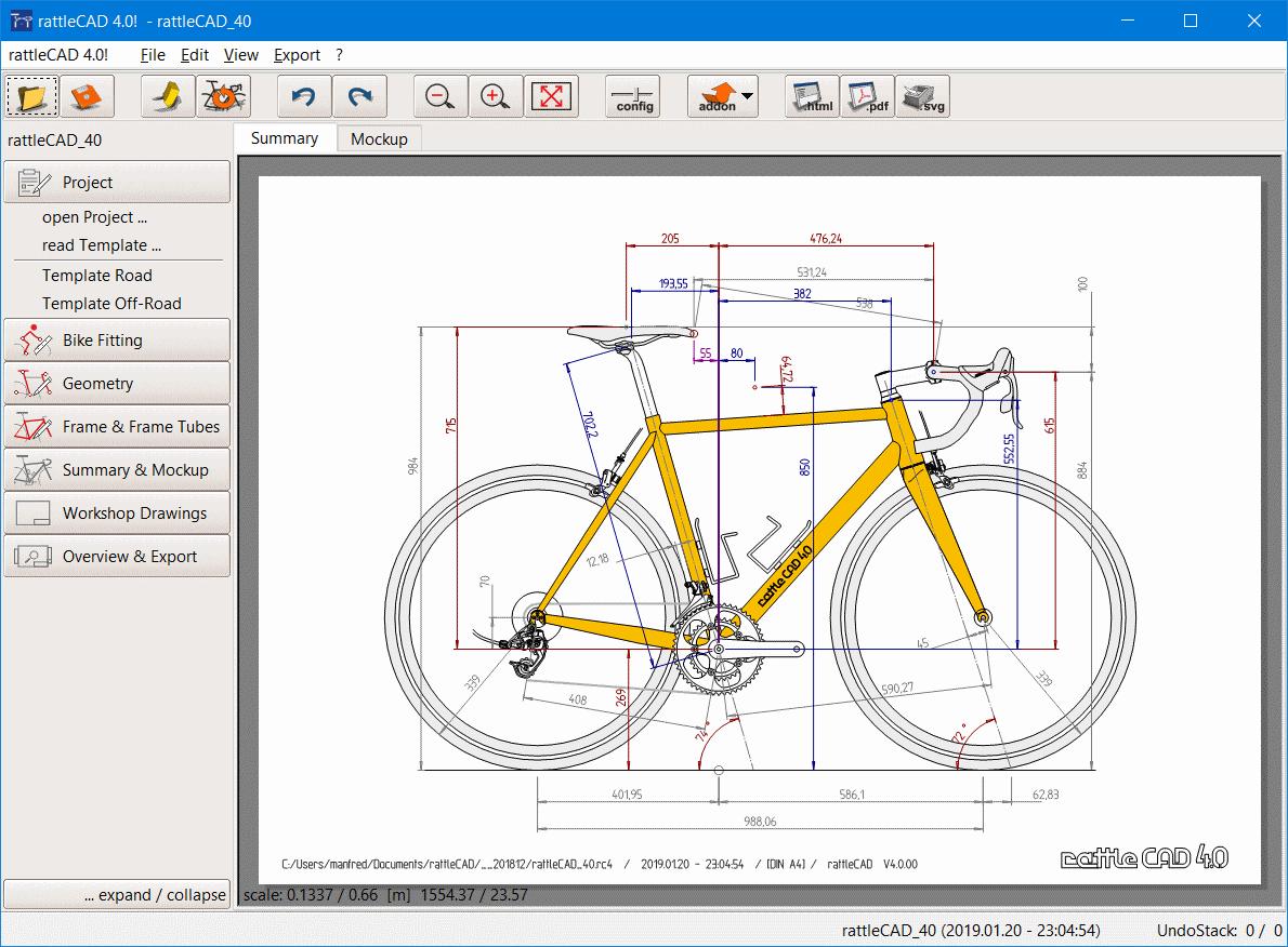 Full rattleCAD screenshot
